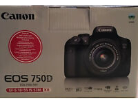 Canon EOS 750D 24.2MP Digital SLR Camera - Black (Kit w/ 18-55mm Lens) like new
