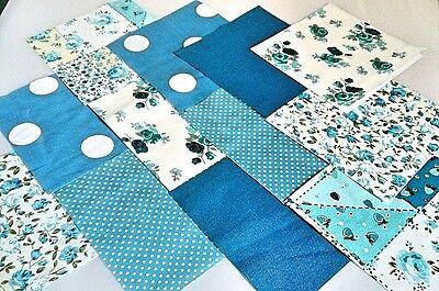 "10 x AQUAMARINE TURQUOISE  Fabric Squares 5"" inch Polycotton Patchwork Quilting"
