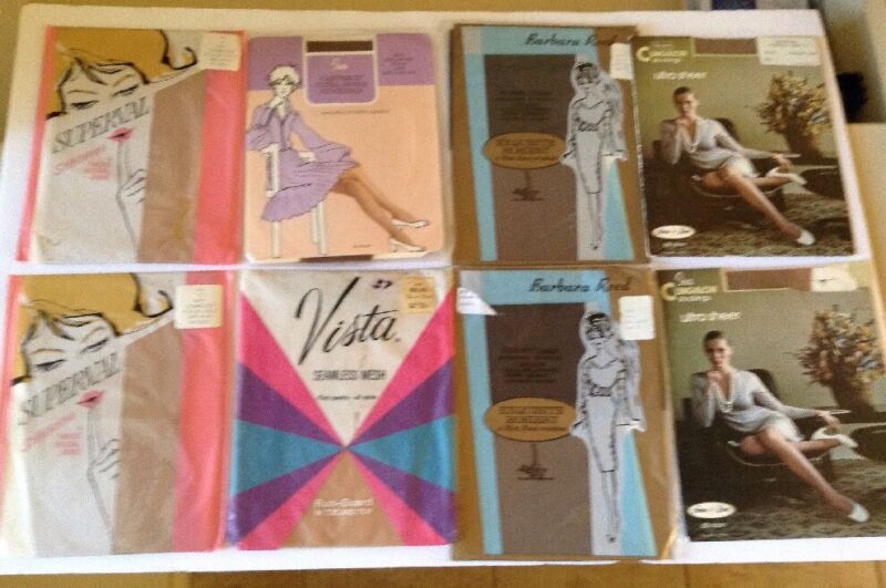 Vtg 60s Pantyhose & Stockings Lot 8 New Pkg LOT Sears Superval Vista Sz 10,B&C
