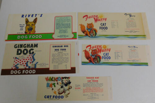 30 Vintage  Dog & Cat Food can labels....6 Different X 5