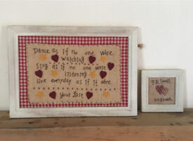 Pair Of Lovely Gingham Sewn Pictures, Perfect Gift As With Tags. ❤️MOTHERS DAY❤️