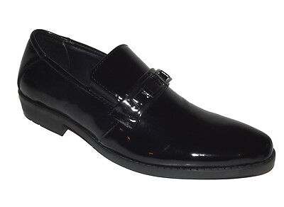 A38 New Fashion toe Black Oxford LOAFER SLIP ON leather faux patent dress Sz 8