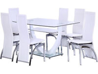 Hanley Glass Dining Table With 6 Chairs - White