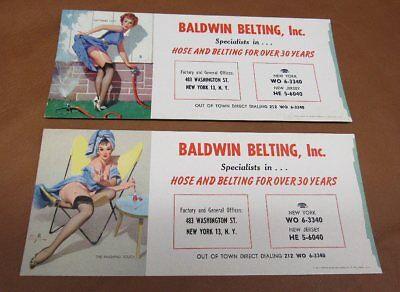 Vintage Gil Elvgren Pin Up Blotter Cards For Baldwin Belting, Inc. Gas oil