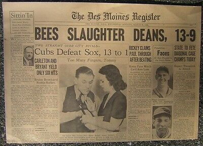 3 23 1938 The Des Moines Register Sports   Bees Slaughter Deans  13 9