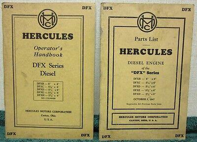 i 1947 2Pc Set of Hercules DFX Series Diesel Operator's Handbook & Parts List
