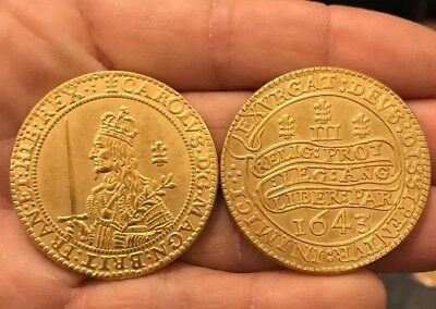 RESTRIKE Oxford Triple Unite 1643 King Charles I Crown  COIN Gold Plated Medal