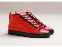 Balenciaga Arena Red and black leather High Top Trainers
