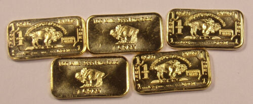 5 One 1 Gram 100 mills .999 Fine Gold Buffalo Collector Bars ....Free Shipping!!