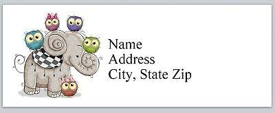 Personalized Address Labels Cute Little Owls Elephant Buy 3 get 1 free (bx 948) Elephant Address Label