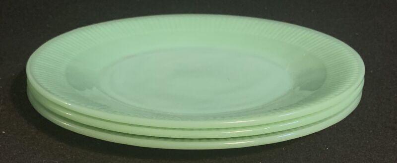 """Vintage Set Of 3 Fire King Jane Ray Jadeite 9"""" Dinner Plates"""