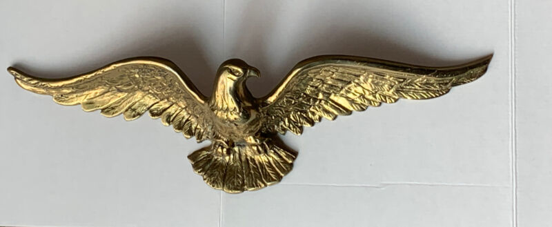 "Cast Brass American Bald Eagle Vintage Hanging Wall Sculpture 20""Wingspan"