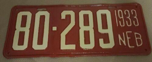 1933 Nebraska License Plate