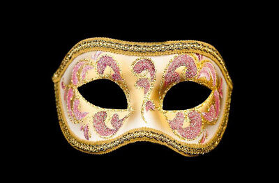 Mask from Venice Colombine Anna Pink and Golden for Prom Mask 959 V4B