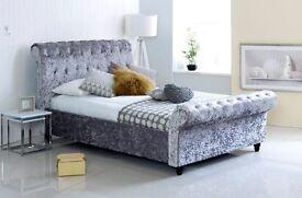 BEST SELLING Windsor Crushed Velvet Bed Black / Silver , Single , Double , Kingsize , available,