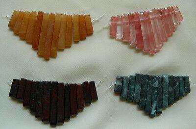 Gemstone Focal bead fan set  top-side drilled 13-total for necklace or focal (Gemstone Focal Bead)