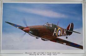 3 x Spitfire,Hurricane Battle of Britain Prints by Ron Blackburn