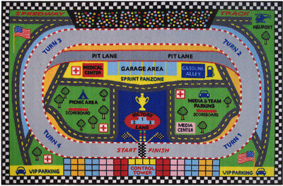 Fun Rugs Multi-Color Race Track Pit Cars Contemporary Area Rug Sports FT-120