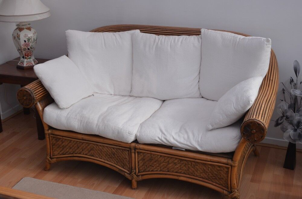 Two seater bamboo styled, white embossed sofa. | in Pocklington ...