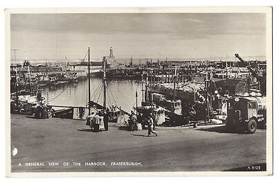 FRASERBURGH General View of the Harbour, RP Postcard by JB White, Unused