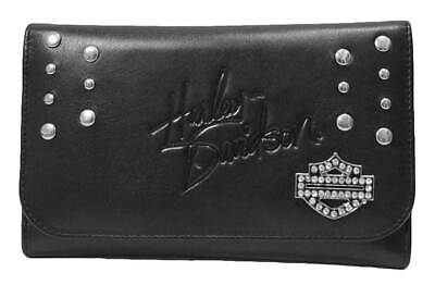 Harley-Davidson® Women/'s Rider Black Trifold Wallet RD4951L-BLACK