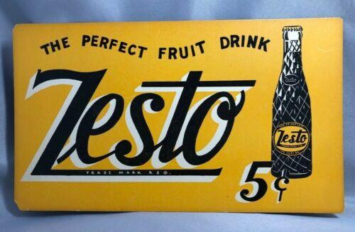 1940s ZESTO SODA 5¢ Advertising Store SIGN Cardboard VINTAGE Original