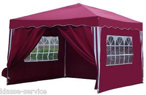 Faltpavillion Klapp Pavillon + 4 Seitenteile - Dachmaß: ca. 3 x 3 Meter in Rot