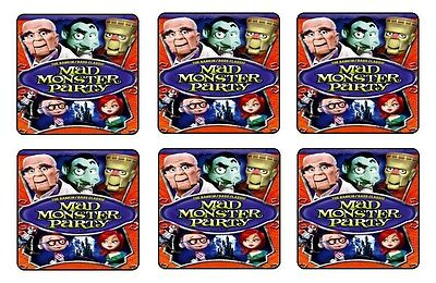 Mad Monster Party Beverage Coasters   1 4 Bar   Beer Set Of 6 Retro Movie