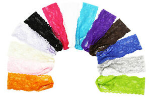 Lot-of-12-2-Lace-Headbands-You-Pick-Colors-14-Color-Choices
