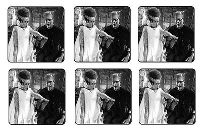 BRIDE OF FRANKENSTEIN COASTERS BAR & BEER SET OF 6