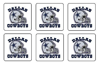 "DALLAS COWBOYS COASTERS 1/4"" BAR & BEER SET OF 6"