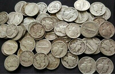 Bulk Lot Full Date Mercury Silver Dime 90% 50 Coin $5.00 Face Roll Collection  Mercury Dime Roll