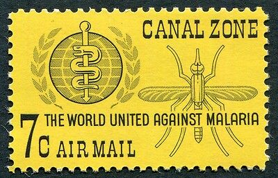 CANAL ZONE 1962 7c black on yellow paper SG223 MNH FG Malaria Eradication #W5