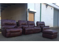 2+1+1 brugundy leather motrised recliner sofas DELIVERY AVAILABLE