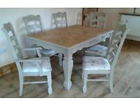 Stunning Shabby Chic Extending Dining Table & Chairs