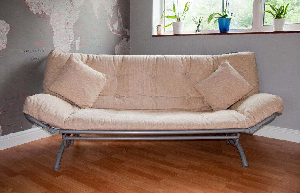 Slumberland Futon Sofa Bed With Two Matching Cushions Like New
