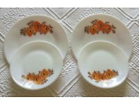 VINTAGE 1960 Pyrex Plates Orange Flower on White Kitchen Tableware Collectors Retro VW Campervan