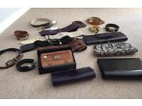 Collection of ladies clutch bags and belts