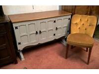 *Free Delivery* Antique Oak Sideboard/Ottoman TV Stand Unit Refectory base Vintage Grey(dresser pine