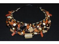 Necklace made from mix of natural, semiprecious stones