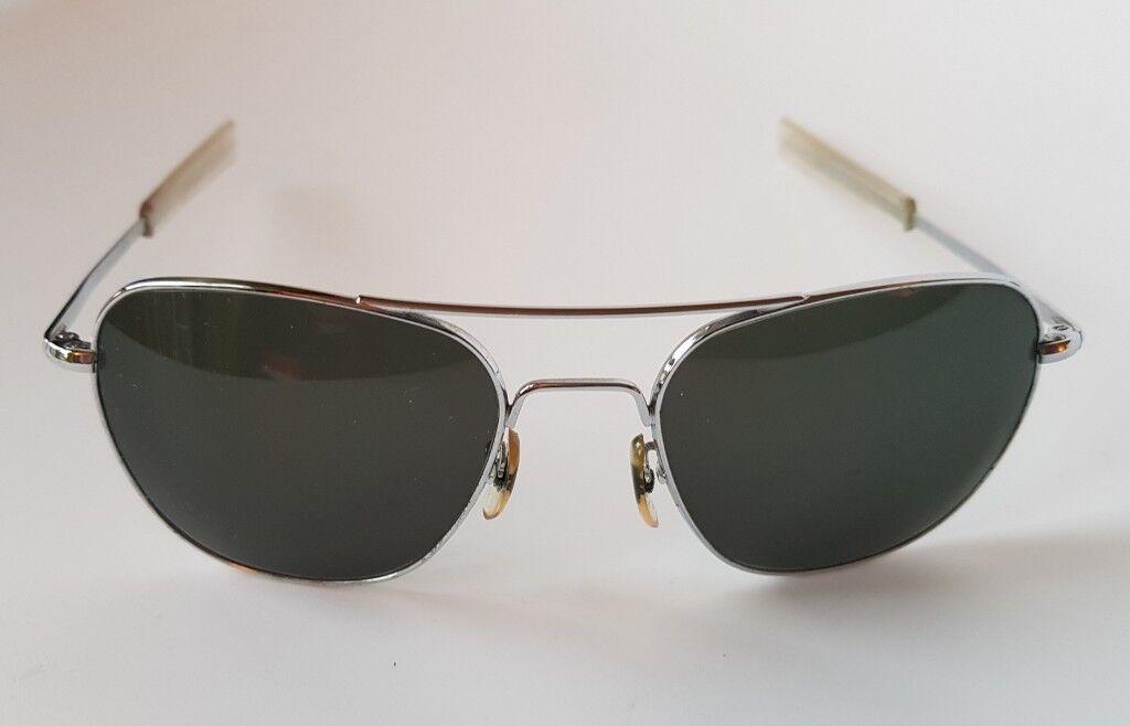 American Optical Original Pilot Sunglasses 57 Matte Chrome  a54d5a479f1
