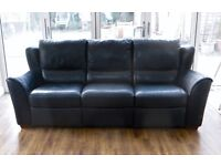 Italian Navy Leather suite by Natuzzi