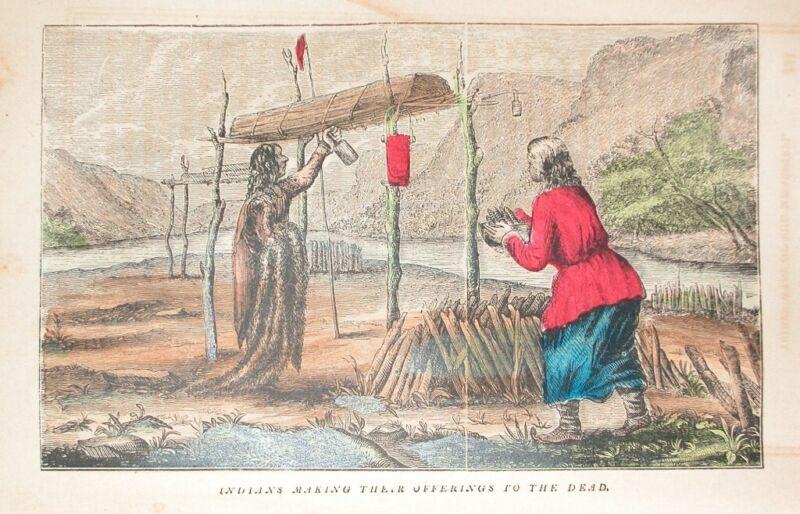 1857 ENGRAVING AMERICAN WESTERN INDIAN BURIAL OFFERINGS