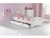 Girls White Butterfly Wooden Bed