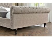 Mink Chenille double sleigh bed