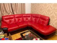 Premium Red 100% Leather Sofa