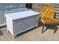 Vintage Oak End of Bed or Hallway Chest of Drawers *DELIVERY INC* Brass Knobs Victorian Chic