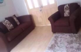 Lovely brown fabric sofa and armchair for sale Hebburn can deliver