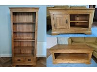 Oak Furniture Land living room set - bookcase, TV unit and coffee table