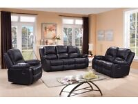 ELECTRO LEATHER RECLINER SOFA, 3+2 ONLY £549